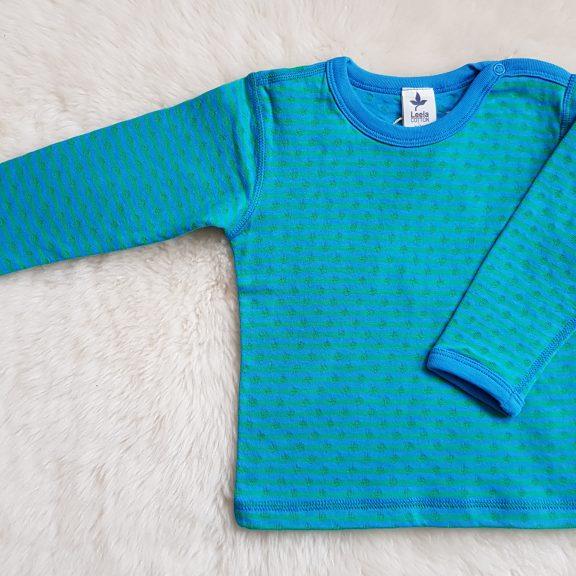 Baby Wende-Langarmshirt nordischblau irischrün