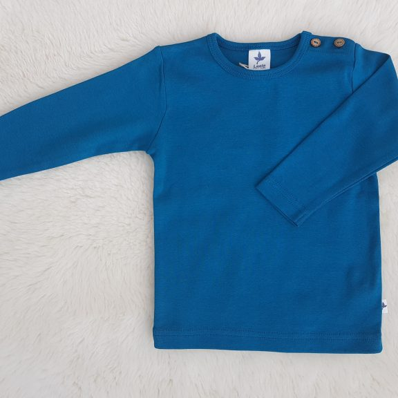 Leela Cotton Baby Langarmshirt ozeanblau
